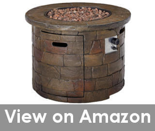 best round fire pit with propane tank inside